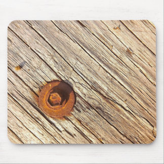Wooden Texture with Rusty Bolt Mousepad