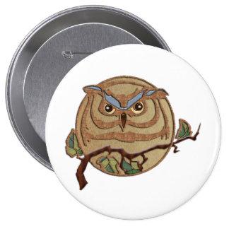 Wooden Textured Owl Logo Button
