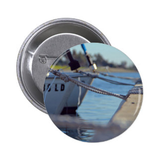 Wooden Themed, Several Boats Knotted To A Dock Wit 2 Inch Round Button