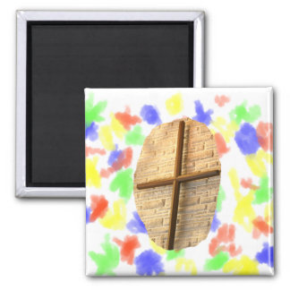 Wooden thin cross on white brick church wall 2 inch square magnet