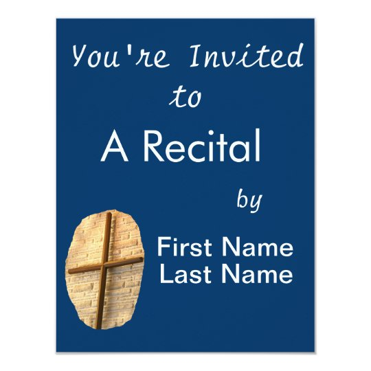 Wooden thin cross on white brick church wall card