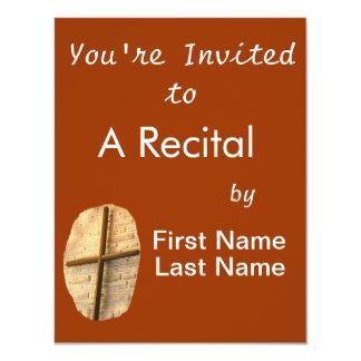 Wooden thin cross on white brick church wall 4.25x5.5 paper invitation card