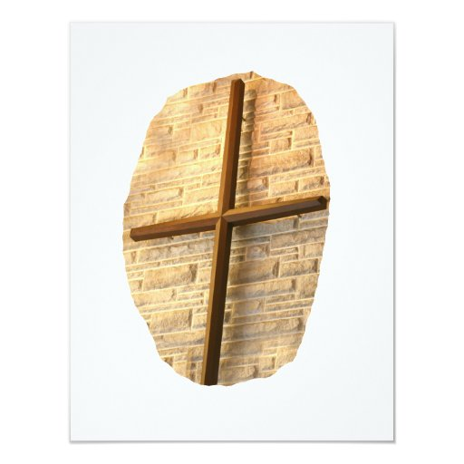 Wooden thin cross on white brick church wall 4.25x5.5 paper invitation card