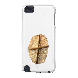 Wooden thin cross on white brick church wall iPod touch 5G case