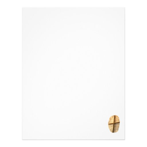 Wooden thin cross on white brick church wall personalized letterhead