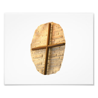 Wooden thin cross on white brick church wall photographic print