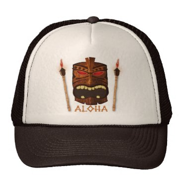 Wooden Tiki Aloha Retro Hawaiian Summer Custom Trucker Hat