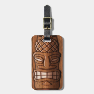 Wooden Tiki Mask Bag Tag