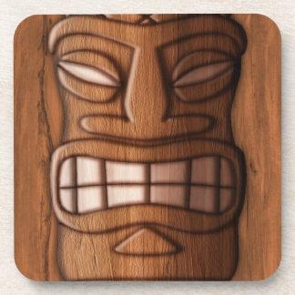Wooden Tiki Mask Beverage Coaster