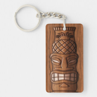 Wooden Tiki Mask Double-Sided Rectangular Acrylic Keychain