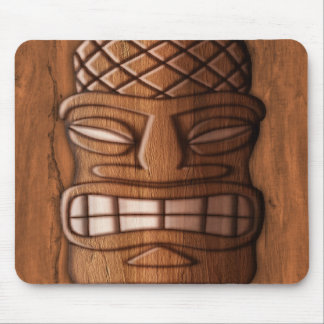 Wooden Tiki Mask Mouse Pads