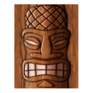 Wooden Tiki Mask Postcard