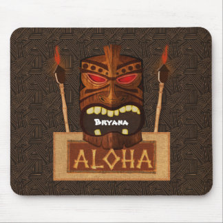 Wooden Tiki Mask Vintage Retro ALOHA Hawaiian Mouse Pad