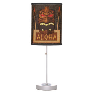 Beach wood table pendant lamps zazzle wooden tiki mask vintage retro luau hawaiian style table lamp mozeypictures Images