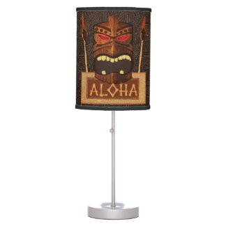 Wooden Tiki Mask Vintage Retro Luau Hawaiian Style Table Lamp