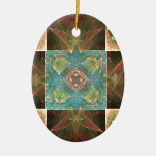 Wooden tiles fractal christmas ornaments