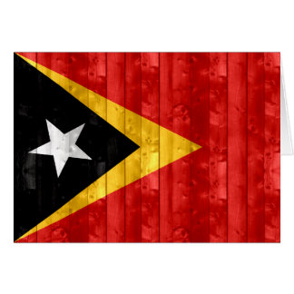 Wooden Timorese Flag Card