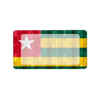 Wooden Togolese Flag Address Label