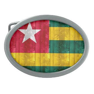 Wooden Togolese Flag Oval Belt Buckles