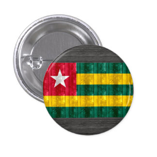Wooden Togolese Flag Pinback Button