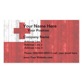 Wooden Tongan Flag Business Card