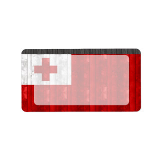 Wooden Tongan Flag Personalized Address Label