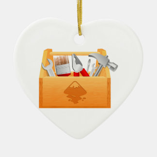Wooden Toolbox with Tools Ceramic Ornament
