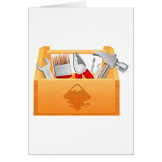 Wooden Toolbox with Tools Greeting Card