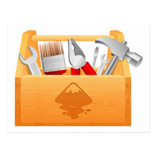 Wooden Toolbox with Tools Postcard
