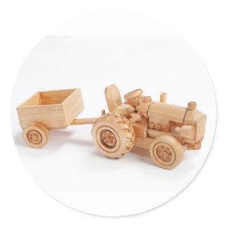 Wooden tractor classic round sticker
