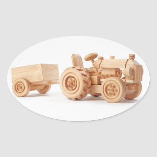 Wooden tractor oval sticker