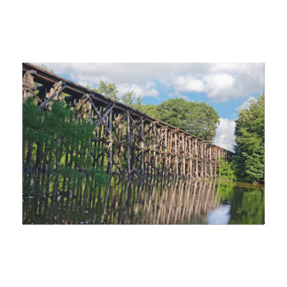 Wooden Train Trestle Stretched Canvas Print