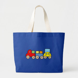 Wooden train with bricks canvas bags