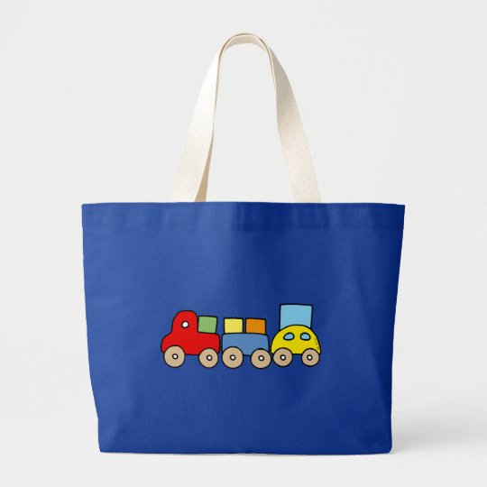 Wooden train with bricks large tote bag