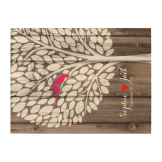 wooden tree signing wedding guestbook birds pink wood wall decor