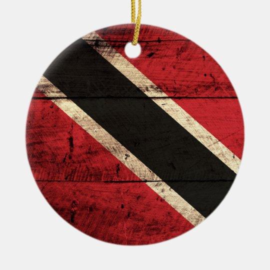 Wooden Trinidad and Tobago Flag Ceramic Ornament