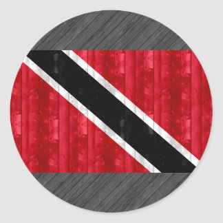 Wooden Trinidadian Flag Classic Round Sticker