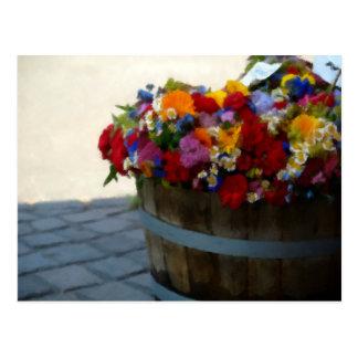 Wooden Tub of Flowers Oil Pastel Postcard