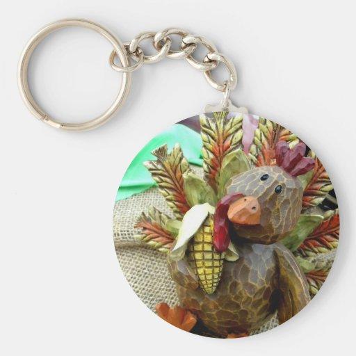 Wooden Turkey Keychain
