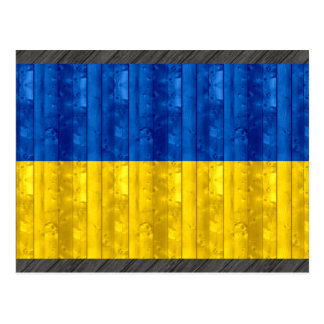 Wooden Ukrainian Flag Postcard