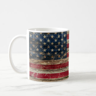 Wooden Vintage American Flag Classic White Coffee Mug