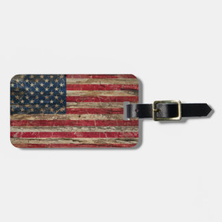 Wooden Vintage American Flag Tag For Luggage