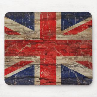 Wooden Vintage Union Jack Flag Mouse Pad