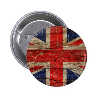 Wooden Vintage Union Jack Flag Pinback Button