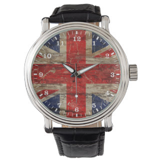 Wooden Vintage Union Jack Flag Wrist Watches