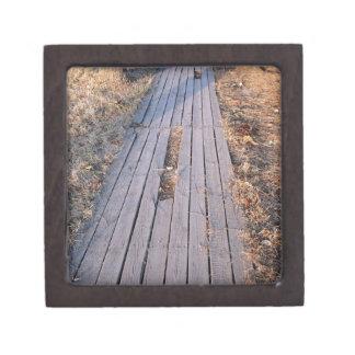 Wooden walkway made of planks premium keepsake box