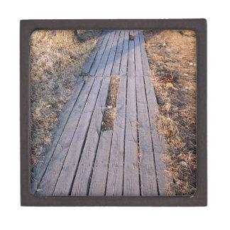 Wooden walkway made of planks premium trinket box