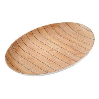 Wooden wall texture porcelain serving platter
