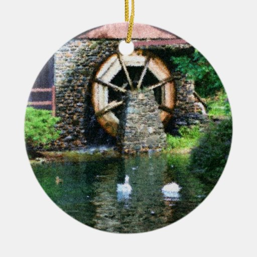Wooden water wheel duck pond ornament zazzle Pond ornaments