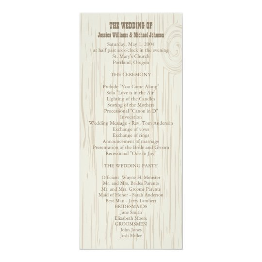 Wooden Wedding Program